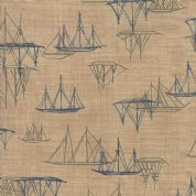 Moda - Ebb and Flow by Janet Clare - 6978 - Sailing Boats on Taupe - 1486 14 - Cotton Fabric